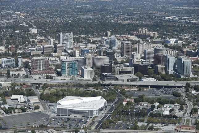 Aerial view of downtown San Jose, September 2015, with SAP Center in the foreground. A major office, retail and housing project has been proposed for more than eight acres between the arena and Highway 87. (Karl Mondon, Bay Area News Group)